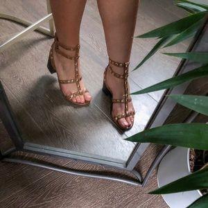 Studded strap block heel sandals